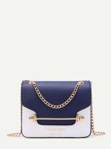 Piping Detail Flap PU Chain Bag