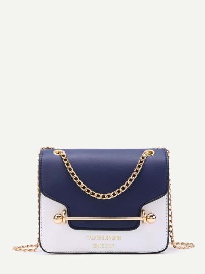 Piping Detail Flap PU Chain Bag