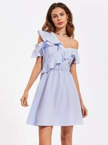 Flounced Asymmetric Shoulder And Placket Dress