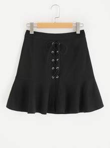 Grommet Lace Up Frilled Hem Skirt