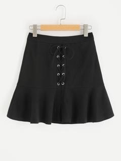 Grommet Lace Up Frilled Hem Skirt