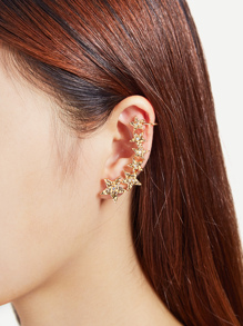 Rhinestone Detail Star Design Mismatch Ear Crawler