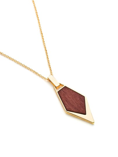 Wood Detail Geometric Pendant Chain Necklace