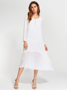 Button Front Double Layer Dress