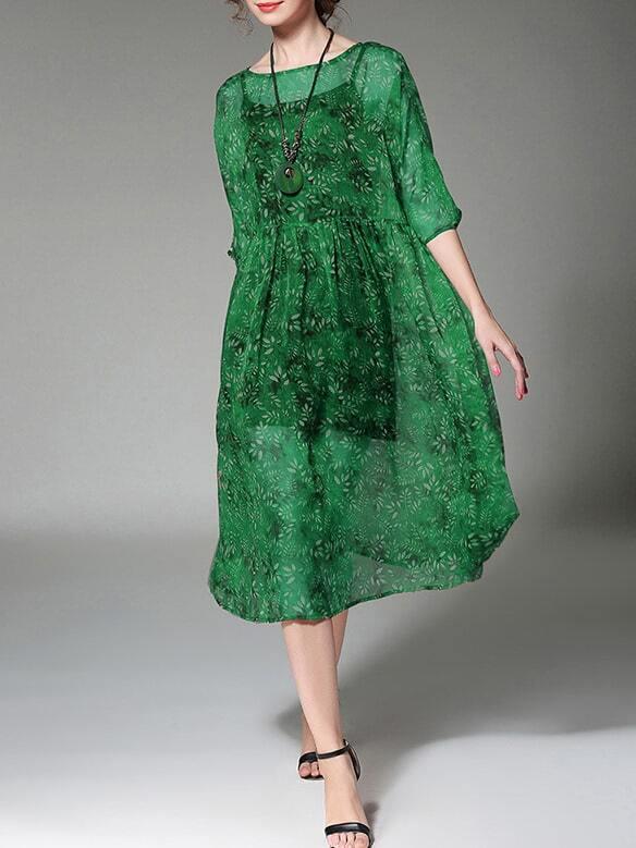 Фото Floral Two-pieces Sheer Dress. Купить с доставкой