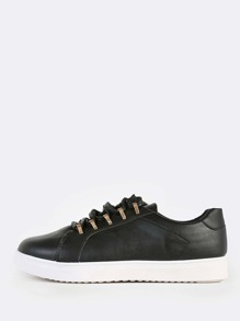Gold Stud Lace Up PU Sneakers BLACK