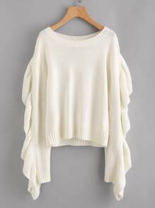 Exaggerate Flounce Trim Mixed Knit Jumper