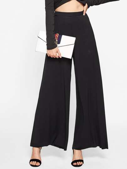 Elasticized Waist Super Wide Leg Pants