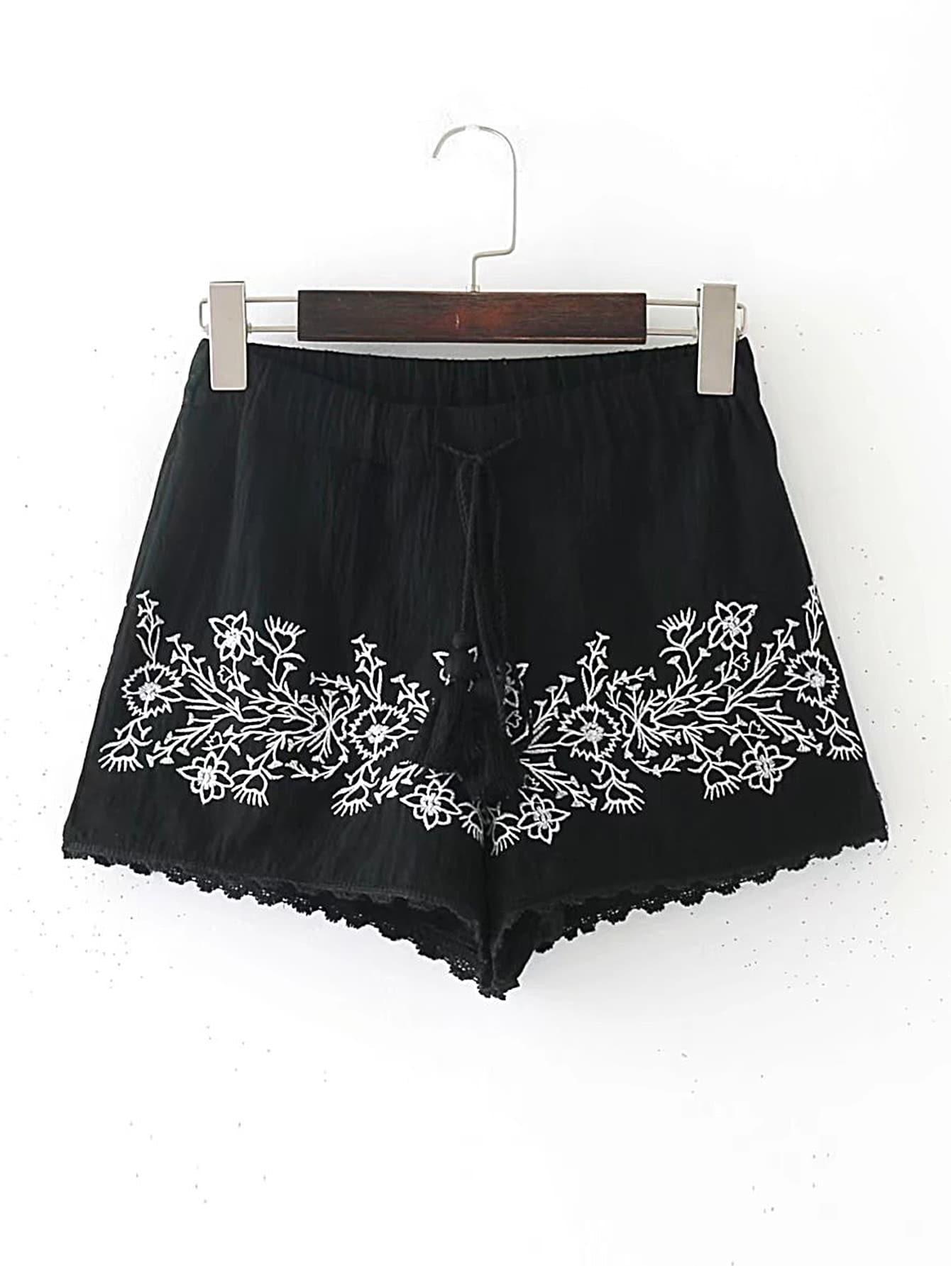 Фото Drawstring Waist Contrast Lace Shorts With Fringe. Купить с доставкой