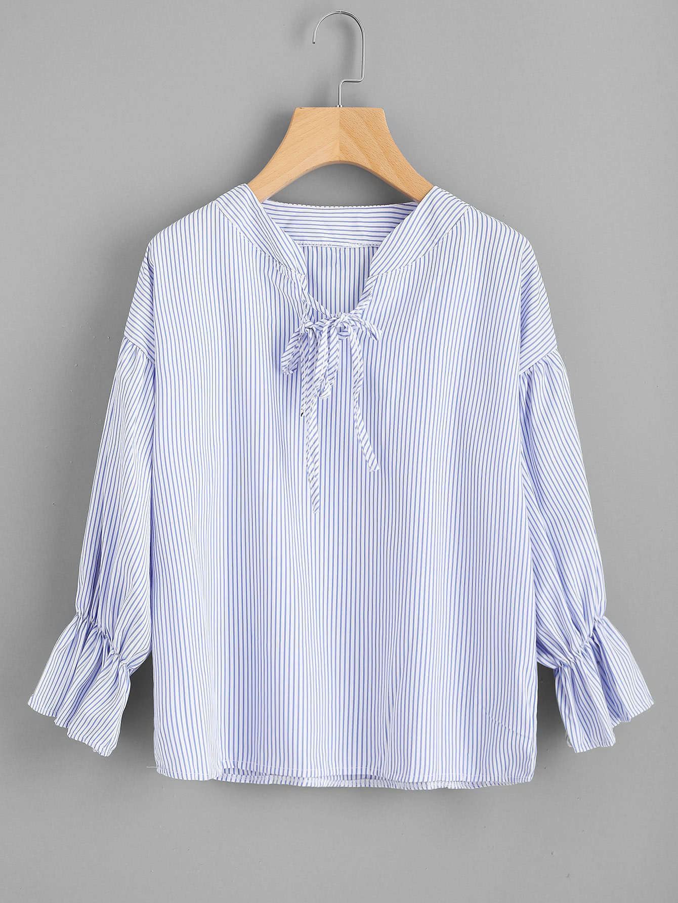 Vertical Striped Drop Shoulder Tie Detail Blouse drop shoulder grommet tie detail sweatshirt