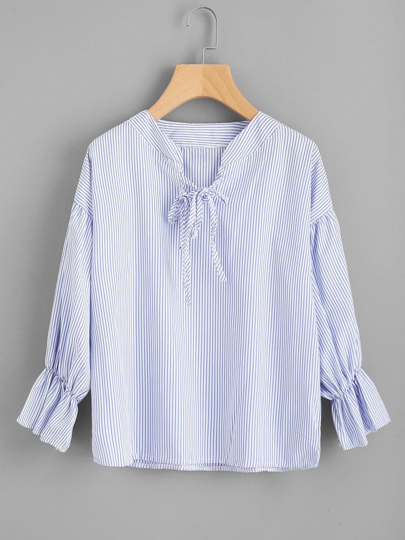 Vertical Striped Drop Shoulder Tie Detail Blouse metal grommet detail drop shoulder sweatshirt dress