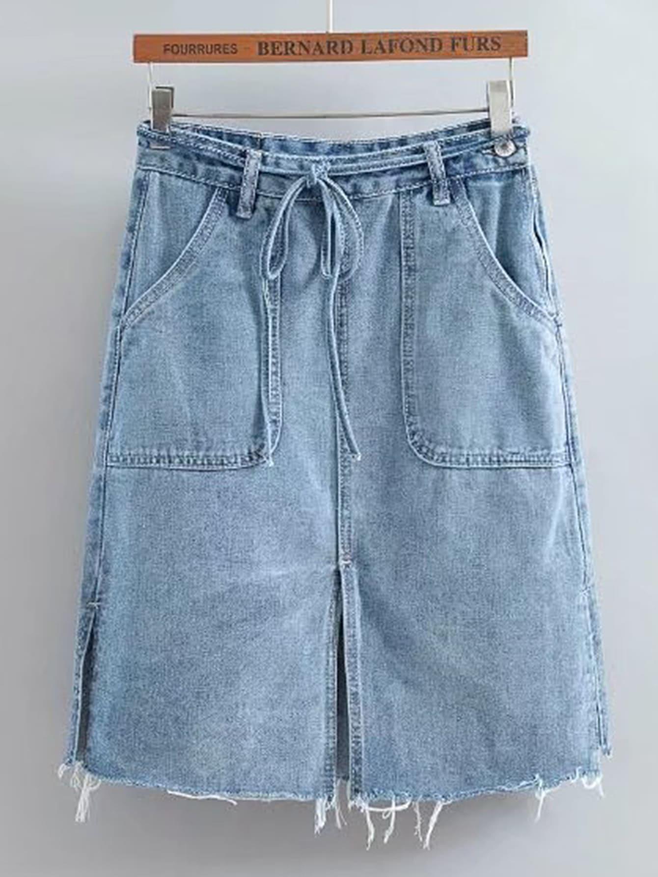 Фото Tie Waist Raw Hem Split Detail Denim Skirt. Купить с доставкой