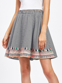 Elastic Waist Embroidery Gingham Skirt