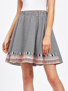 Elastic Waist Embroidery Gingham Skirt