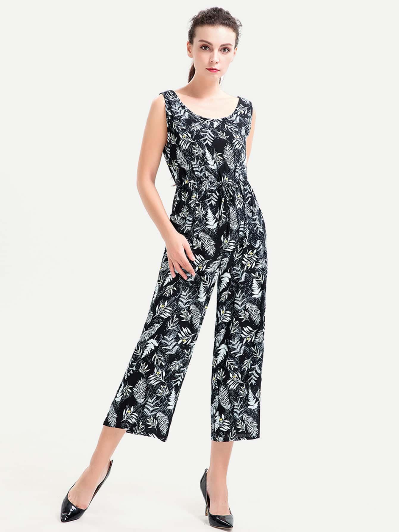 Фото Leaves Print Tie Detail Jumpsuit. Купить с доставкой