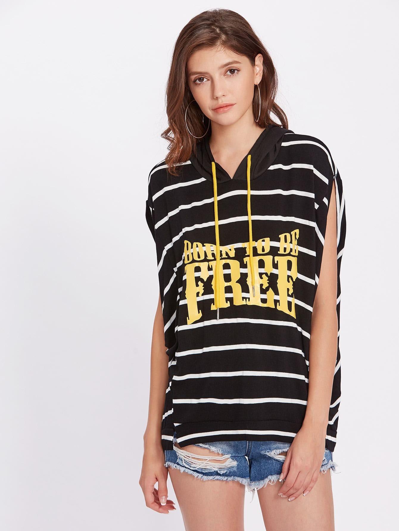 Фото Striped Slogan Print Hooded Tee. Купить с доставкой
