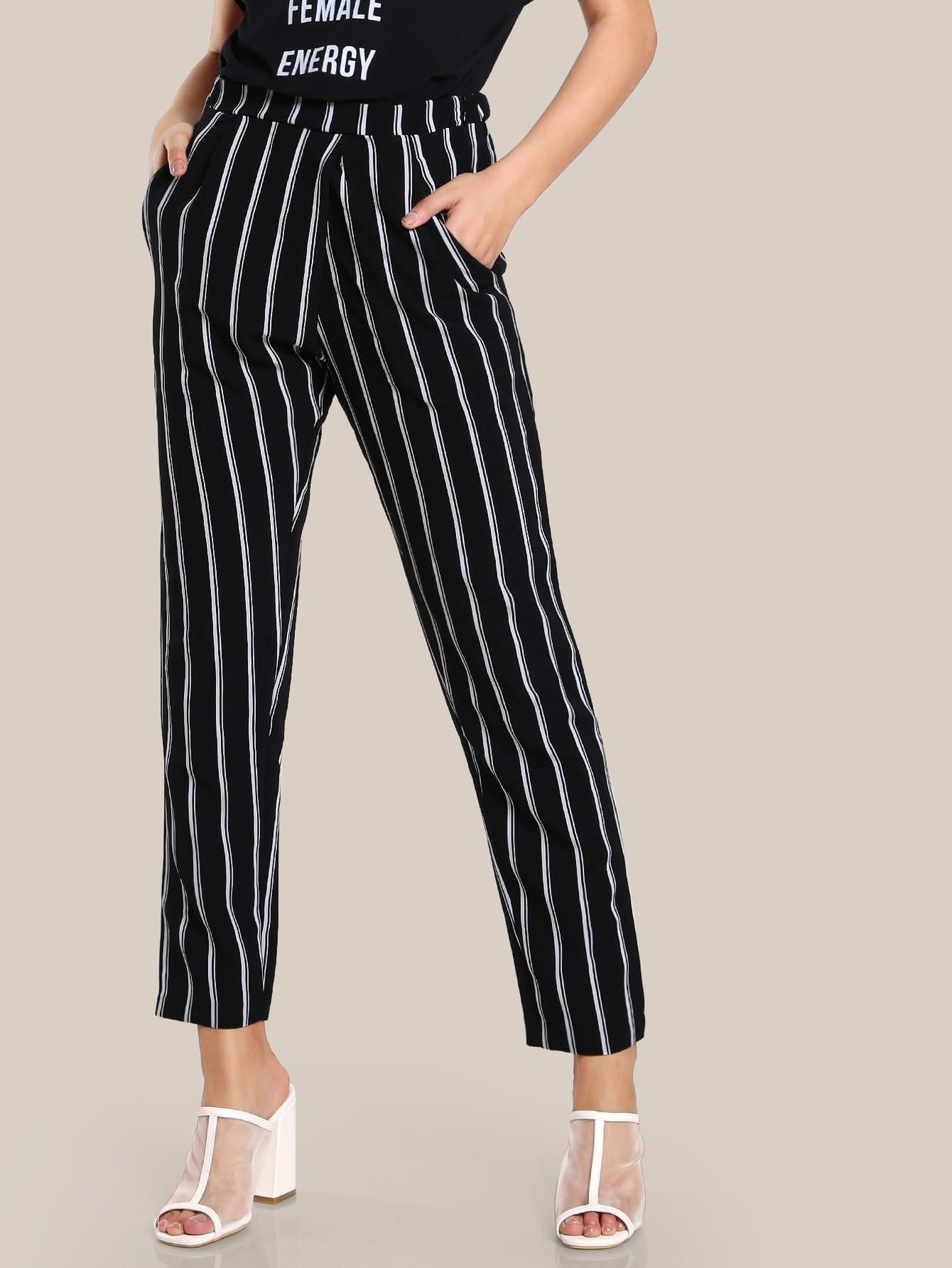 Image of Striped High Rise Peg Pants