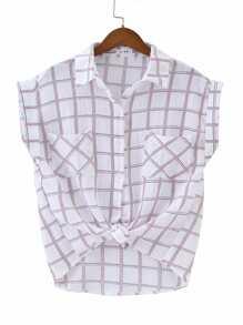 Knotted Hem Cuffed Shirt