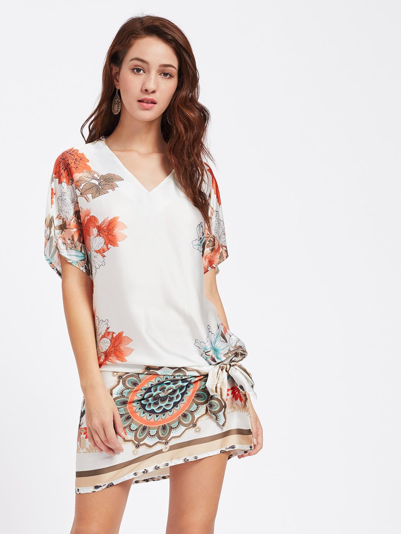 Фото Belt Detail Dolman Sleeve Dress. Купить с доставкой
