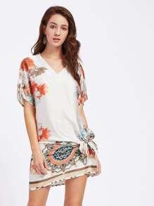 Belt Detail Dolman Sleeve Dress