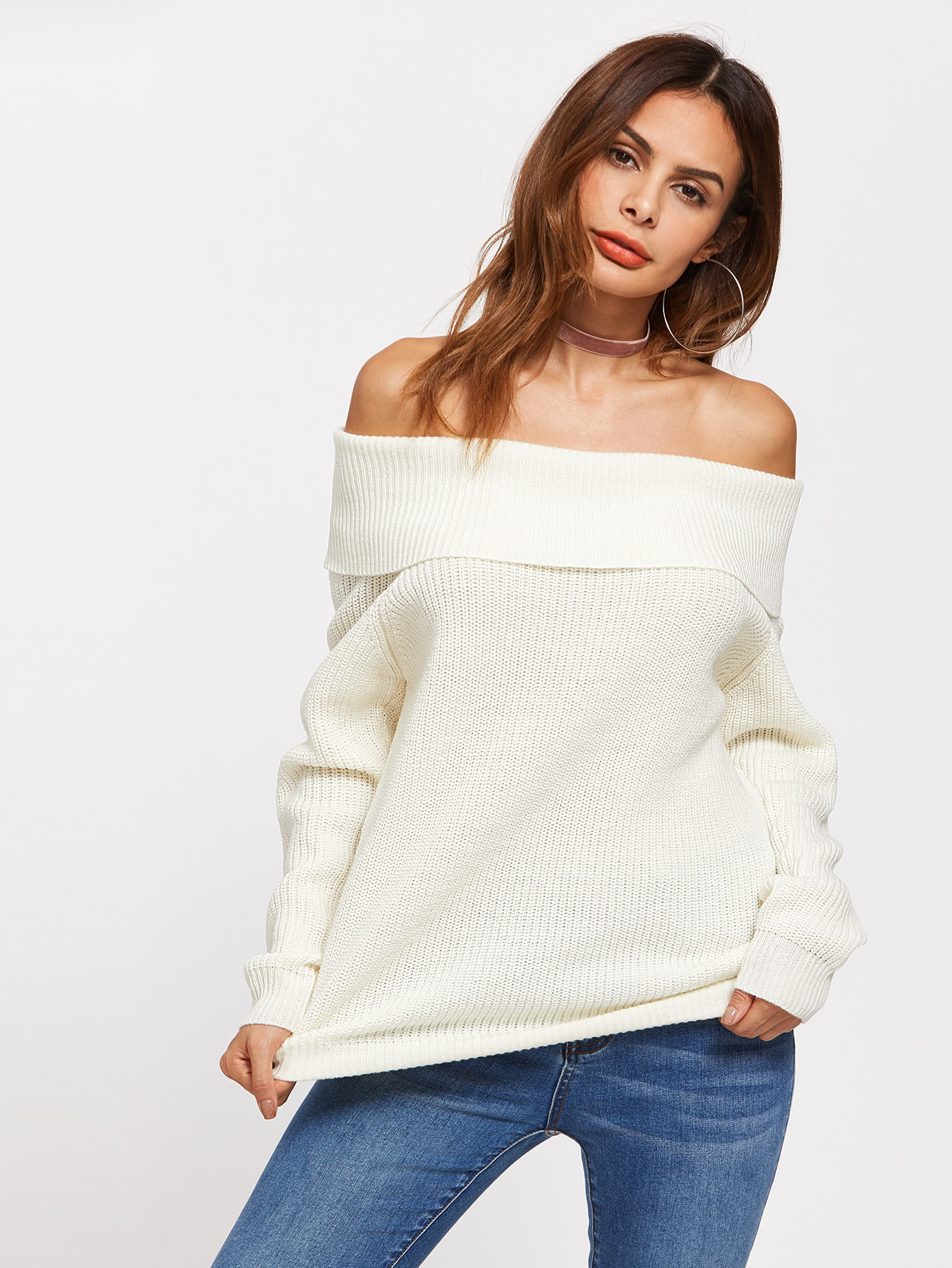 Foldover Off Shoulder Jumper cross front foldover off shoulder bodysuit