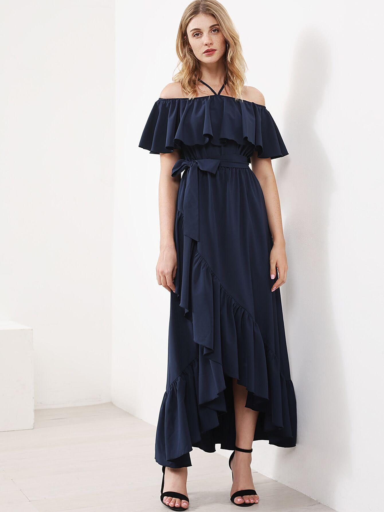 Фото Halter Frill Off Shoulder Overlap Tiered Dress. Купить с доставкой