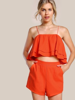 Double Layer Trapeze Cami And Shorts Co-Ord