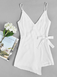 Surplice Knot Side Pleated Cami Romper