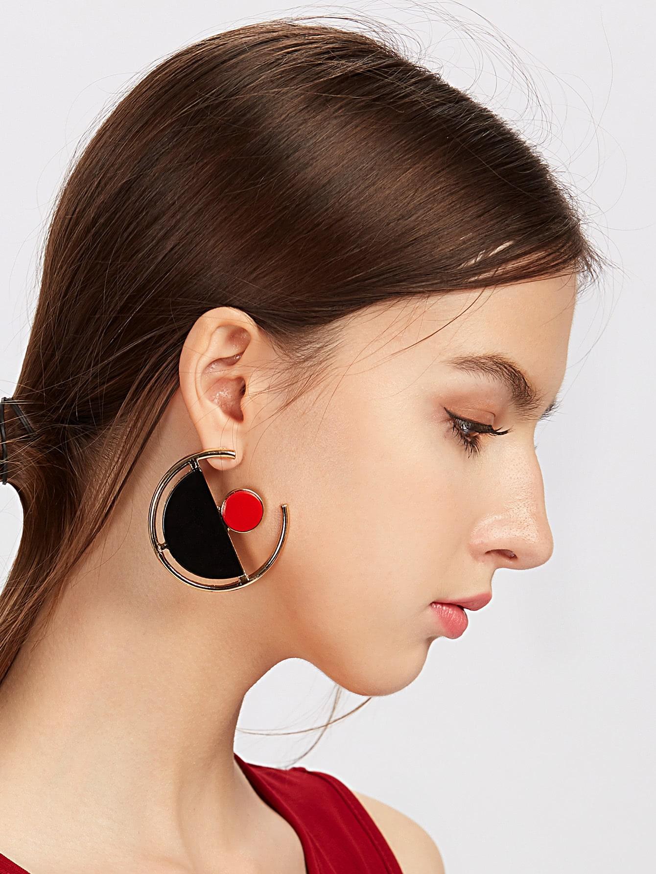Image of Contrast Geometric Cute Earrings