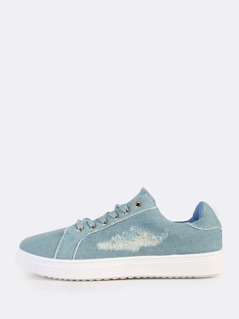 Distressed Denim Sneakers LIGHT DENIM