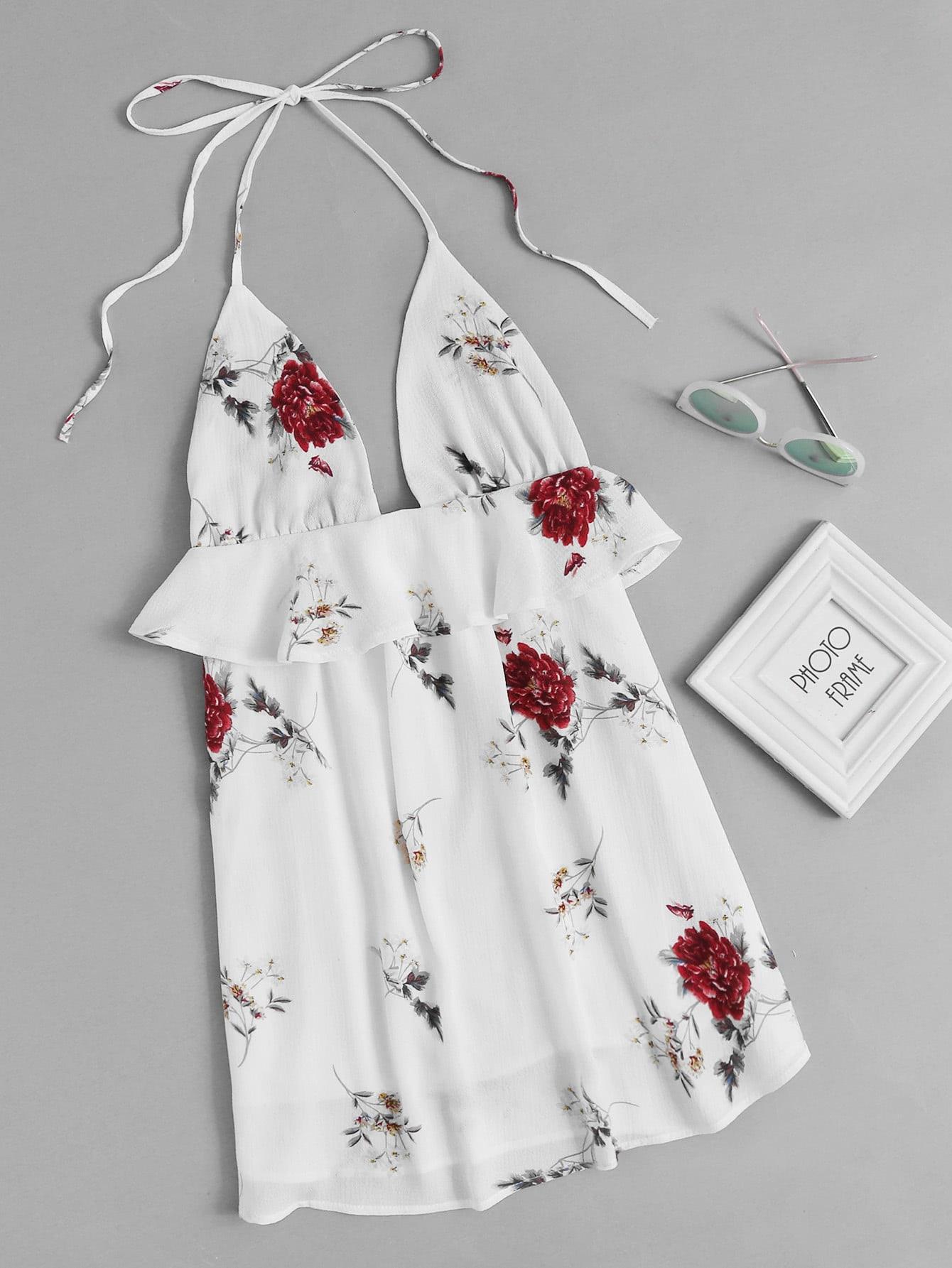 Фото Halter Neck Floral Print Random Frill Trim Dress. Купить с доставкой