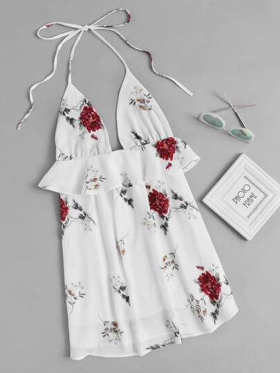 Halter Neck Floral Print Random Frill Trim Dress