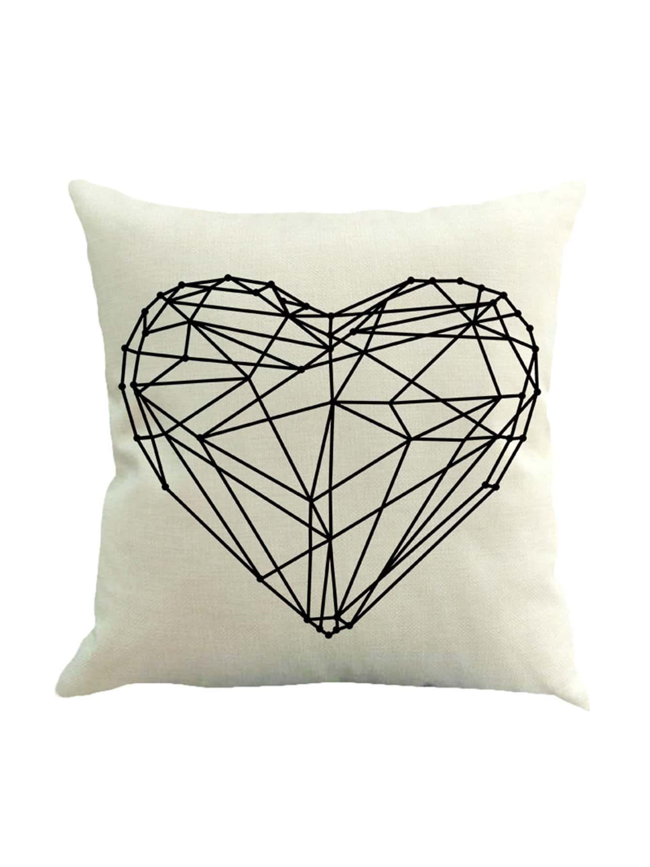 Geometric Heart Print Pillowcase Cover