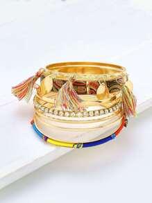 Tassel & Rhinestone Tassel Decorated Bracelet Set