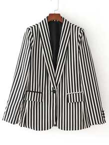 Contrast Striped Single Button Blazer