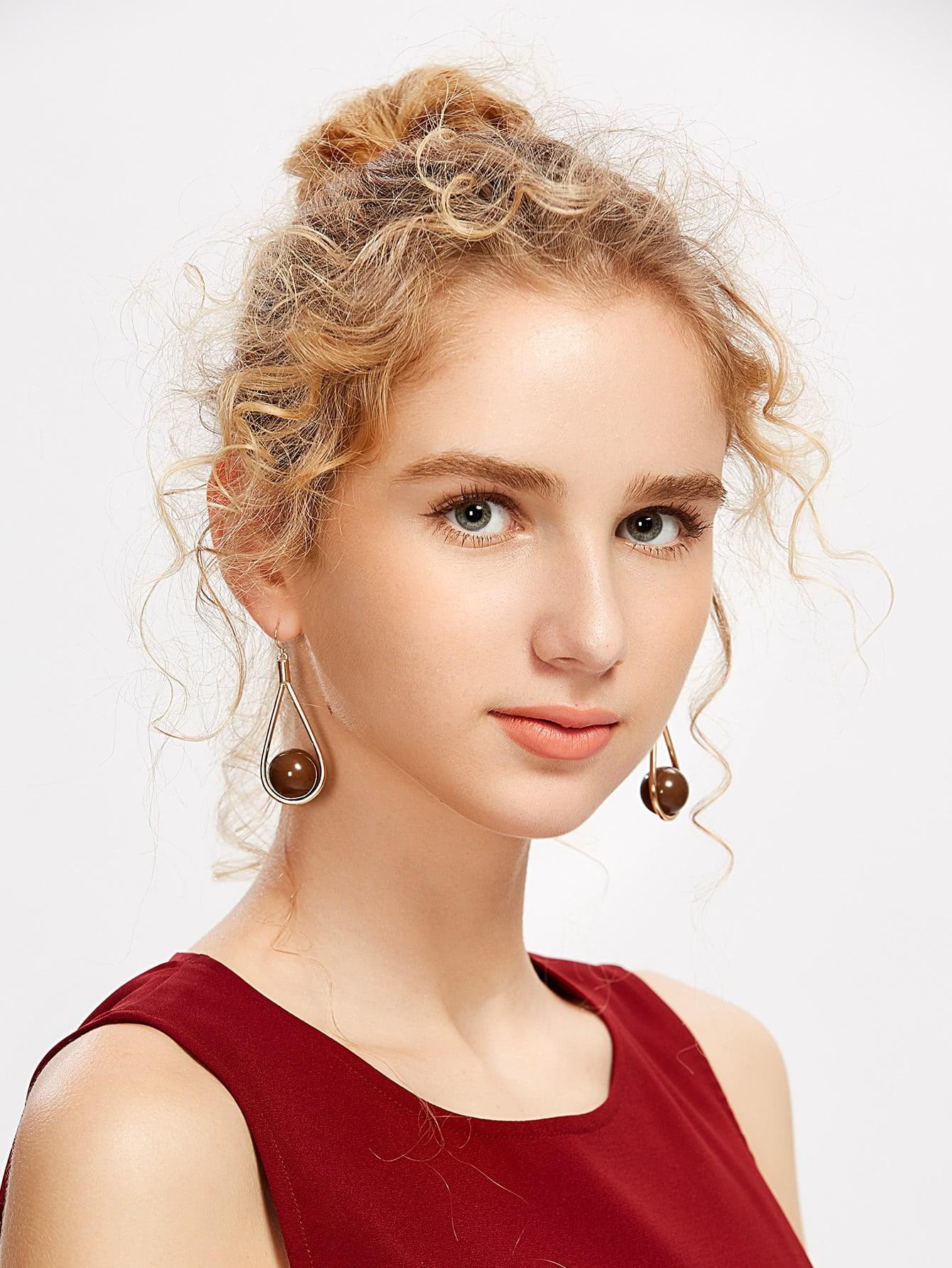 Фото Round Bead Decorated Drop Earrings. Купить с доставкой