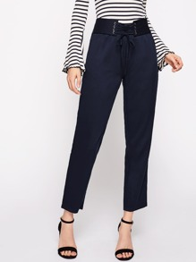 Eyelet Lace Up Waist Tailored Pants
