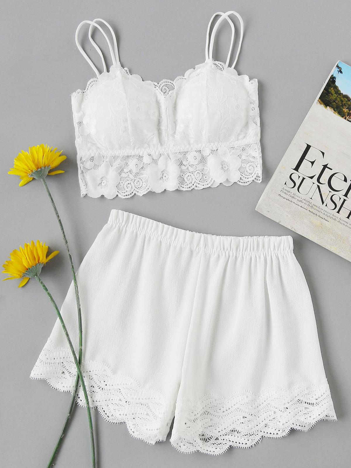 花樣蕾絲 覆蓋 扇形 裝飾 睡衣褲組