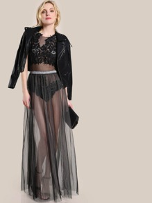 Mesh Two Tone Skirt BLACK