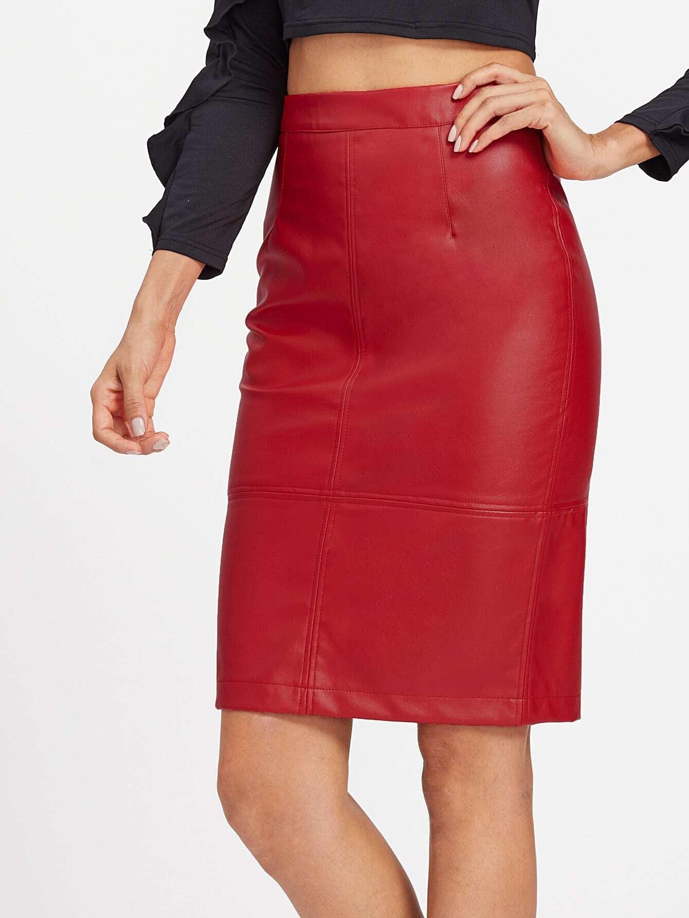 Фото PU Slit Back Pencil Skirt. Купить с доставкой