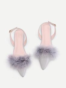 PU Flache Schuhe mit Kunstpelz und Slingback
