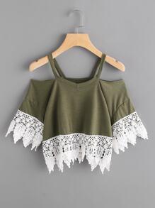 Tee-shirt découpé contrasté en crochet en dentelle