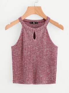 Marled Knit Keyhole Front Ribbed Halter Top