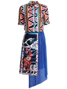 Zigzag Print Top With Pleated Asymmetric Skirt