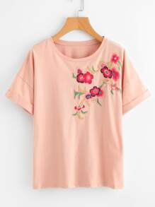 Flower Blossom Embroidered Cuffed Tee
