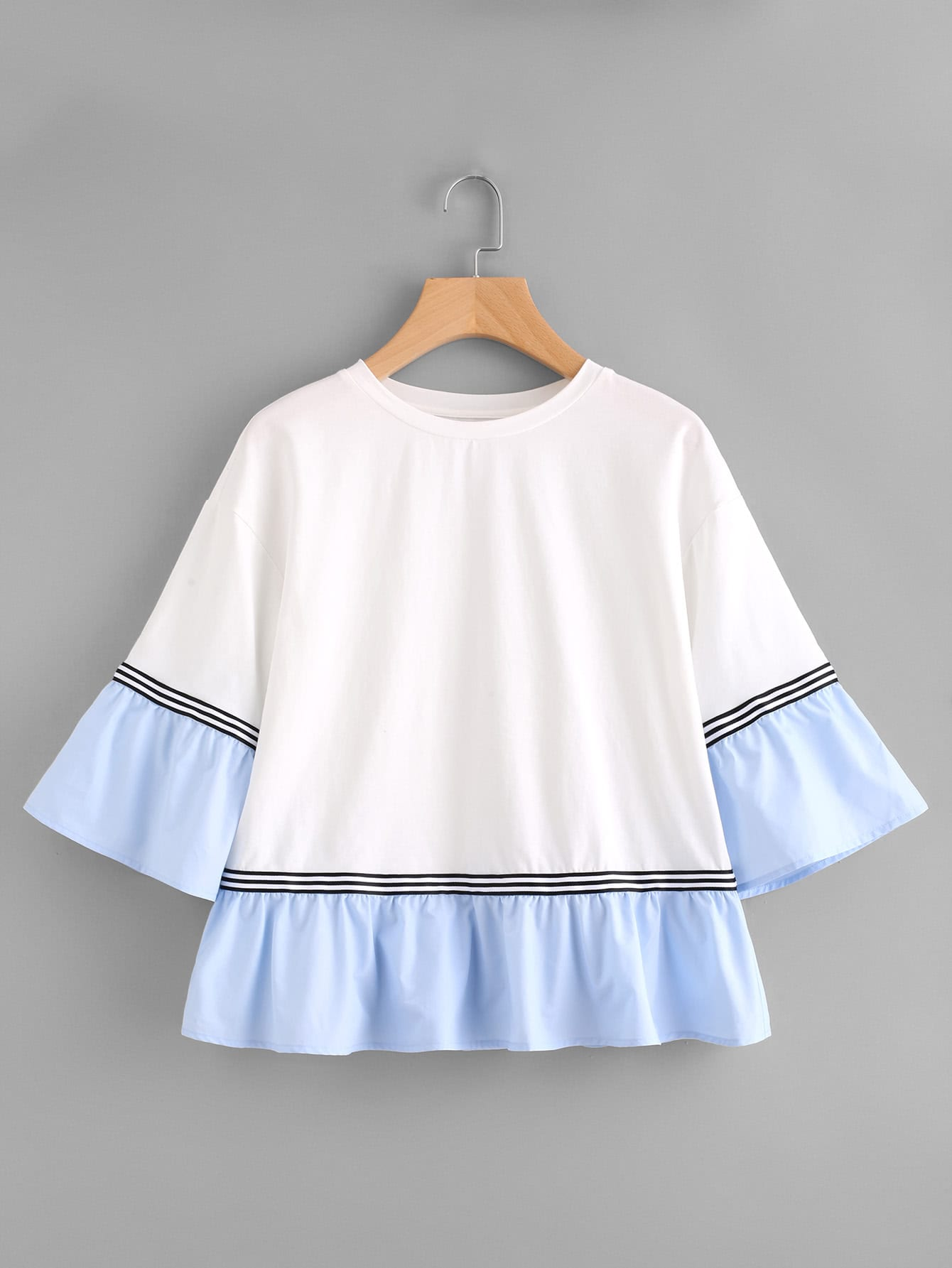 Striped Tape Contrast Frill Trim Tee вешалка 5469