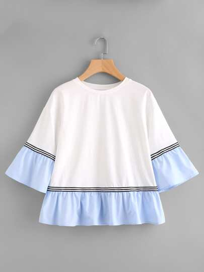 Striped Tape Contrast Frill Trim Tee