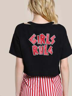 Girls Rule Cutout Neck Crop Tee