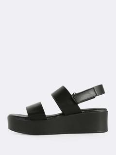 Multi-Band Flat Velcro Ankle Strap Sandals BLACK