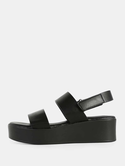Multi-Band Flat Velcro Ankle Strap Sandals BLACK
